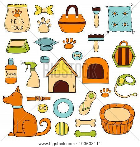 Vector Hand Drawn Dog Stuff Icons