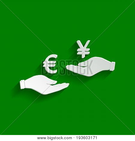 Currency exchange from hand to hand. Euro and Yen. Vector. Paper whitish icon with soft shadow on green background.