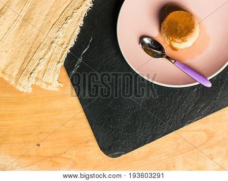 Flan - Creme Caramel On A Pink Disk