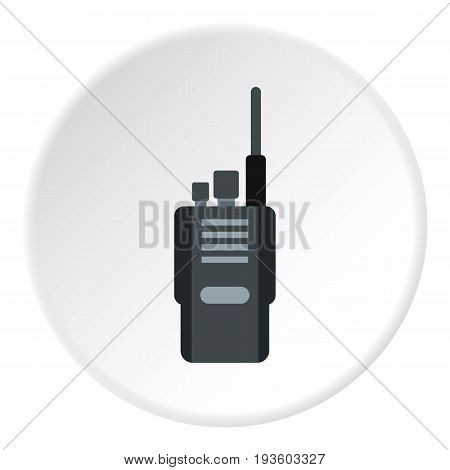 Portable radio transceiver icon in flat circle isolated vector illustration for web