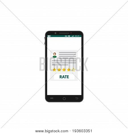 Mobile app rating. User review and app rate concept. Flat realistic mobile phone. User avatar text five yellow stars and button. Survey. Flat style vector illustration.