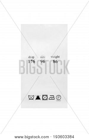 Washing instructions and size clothes label isolated over white