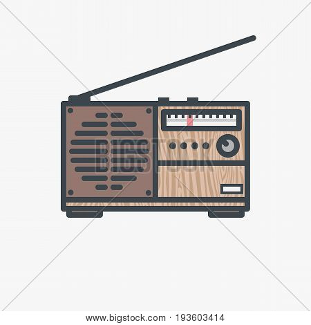 Old retro FM radio. Vintage radio receiver with handle antenna and wooden texture. Thin line modern flat style vector illustration.