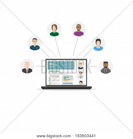 Human resources department laptop concept. Assessment of candidates portfolios. Online HR. Flat style modern CV vector. Hiring new staff with anket. Selecting new workers or employs.