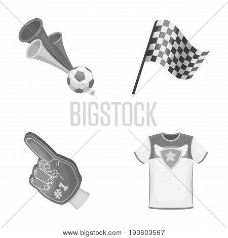 Pipe, uniform and other attributes of the fans.Fans set collection icons in monochrome style vector symbol stock illustration .