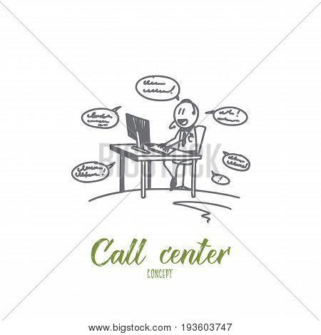 Call center concept. Hand drawn working process in call center. Worker answering calls in office isolated vector illustration.