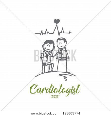 Cardiologist concept. Hand drawn doctor cardiologist with a patient. Heart diagnostic process isolated vector illustration.