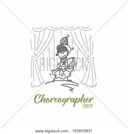 Choreographer concept. Hand drawn choreographer dancing on scene. Young female dancer isolated vector illustration.