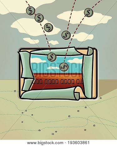 Coins with a dollar sign fall on a freshly issued bank card depicting a bright landscape with a blue sky. Bank card on a background of a landscape with a cloudy sky and clouds Computer graphics