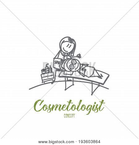 Cosmetologist concept. Hand drawn skillful cosmetologist makes the procedure of skin on female. Cosmetologist and patient isolated vector illustration.