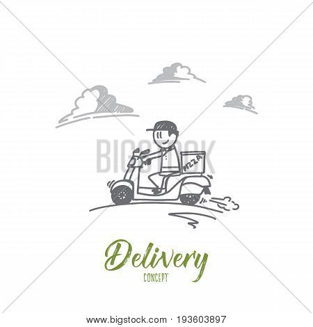 Delivery concept. Hand drawn a man on delivery car with pizza. Courier service isolated vector illustration.