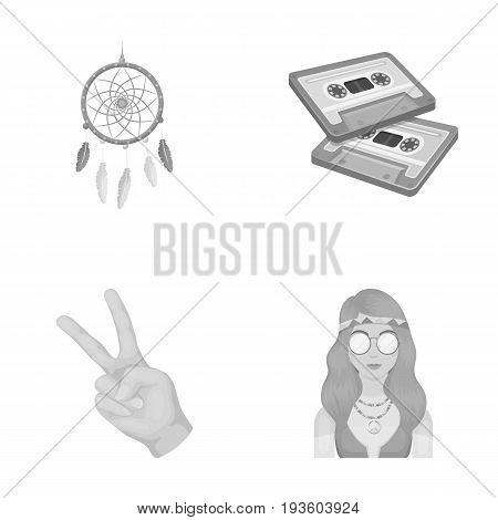 Amulet, hippie girl, freedom sign, old cassette.Hippy set collection icons in monochrome style vector symbol stock illustration.