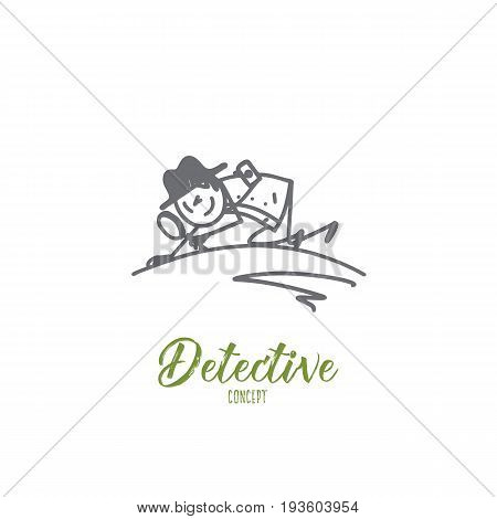 Detective concept. Hand drawn detective with magnifier lens doing criminal investigation. Man with lens looking for evidence isolated vector illustration.