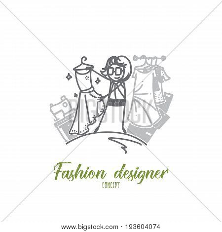 Fashion designer concept. Hand drawn female fashion designer working on garment. Dressmaker isolated vector illustration. poster