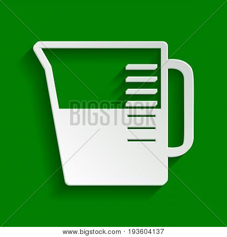 Beaker sign. Vector. Paper whitish icon with soft shadow on green background.