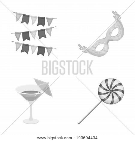 Garlands, cocktail and other accessories at the party.Party and partits set collection icons in monochrome style vector symbol stock illustration .