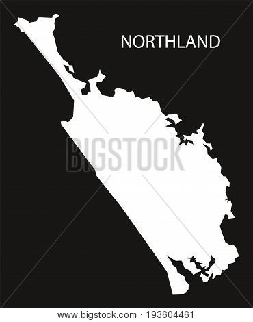 Northland New Zealand Map Black Inverted Silhouette Illustration