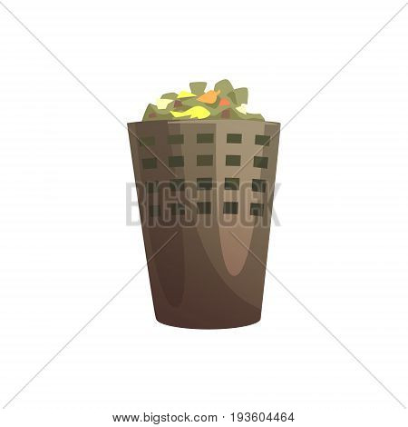 Indoor trash bin, waste processing and utilization cartoon vector Illustration isolated on a white background