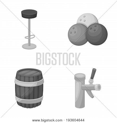 Restaurant, cafe, chair, bowling ball .Pub set collection icons in monochrome style vector symbol stock illustration .