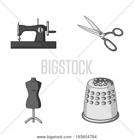 Manual sewing machine, scissors, maniken, thimble.Sewing or tailoring tools set collection icons in monochrome style vector symbol stock illustration .