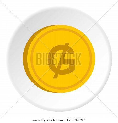 Gold coin with guarani sign icon in flat circle isolated vector illustration for web