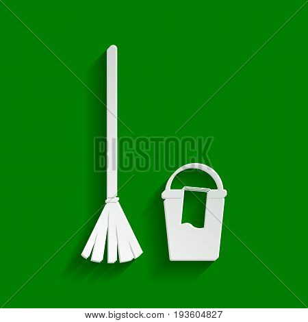 Broom and bucket sign. Vector. Paper whitish icon with soft shadow on green background.