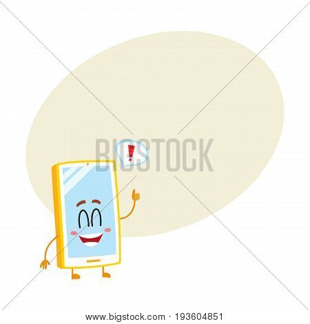 Funny cartoon mobile phone, smartphone character with wide smile showing thumb up, vector illustration with space for text. Happy cartoon mobile phone, smartphone character giving thumb up