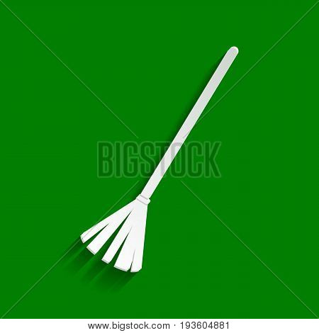 Sweeping broom sign. Vector. Paper whitish icon with soft shadow on green background.