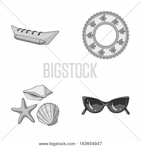 Water attraction, seashells, goggles.Summer vacation set collection icons in monochrome style vector symbol stock illustration .