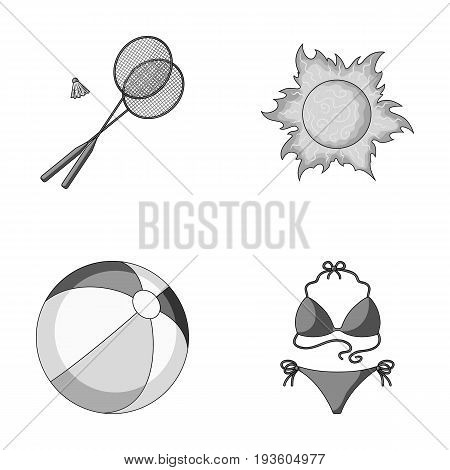 A game of badminton, a ball and the sun.Summer vacation set collection icons in monochrome style vector symbol stock illustration .