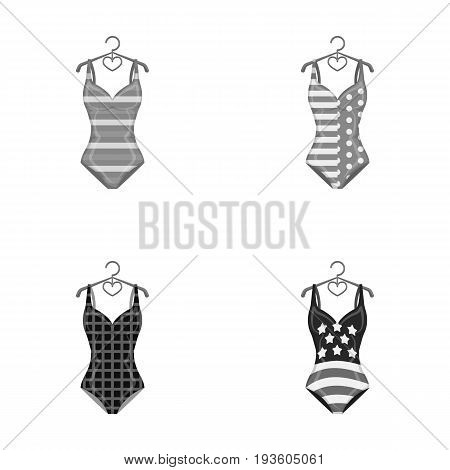 Different kinds of swimsuits. Swimsuits set collection icons in monochrome style vector symbol stock illustration .