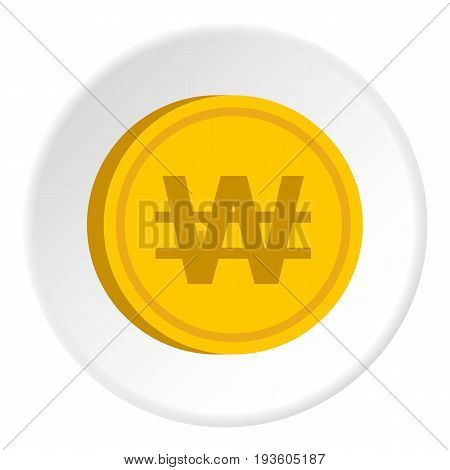 Gold coin with won sign icon in flat circle isolated vector illustration for web