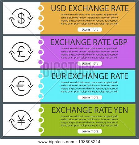 Currencies exchange rates web banner templates set. US dollar, pound, yen, euro exchange. Website color menu items with linear icons. Vector headers design concepts