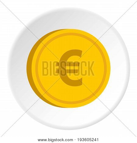 Gold coin with euro sign icon in flat circle isolated vector illustration for web