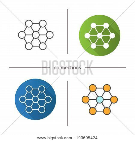 Connections icon. Flat design, linear and color styles. Interrelation abstract metaphor. Structure. Isolated vector illustrations