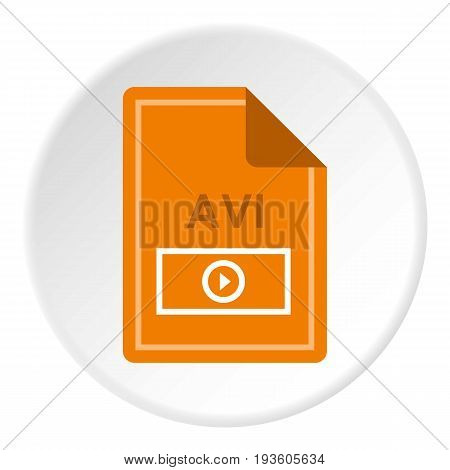 File AVI icon in flat circle isolated vector illustration for web