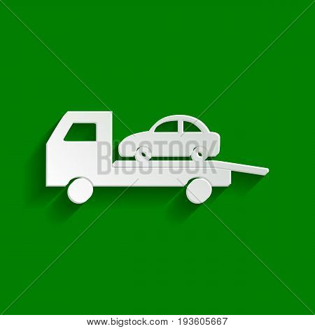 Tow car evacuation sign. Vector. Paper whitish icon with soft shadow on green background.