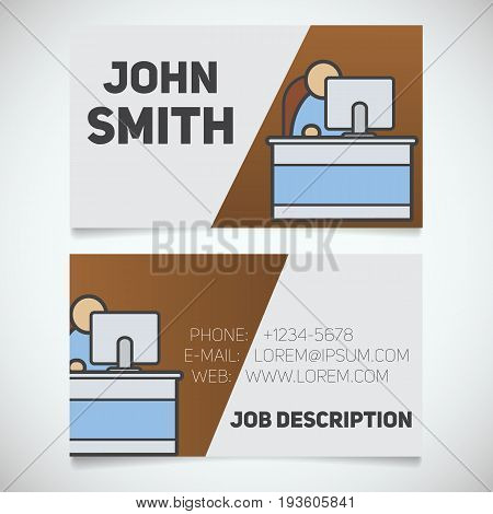 Business card print template with office manager logo. Manager. Programmer. System administrator. Stationery design concept. Vector illustration