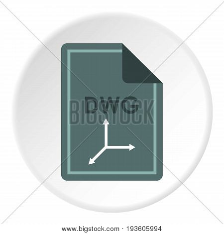 File DWG icon in flat circle isolated vector illustration for web