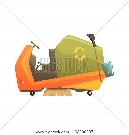 Modern street sweeper truck, waste processing and utilization cartoon vector Illustration isolated on a white background