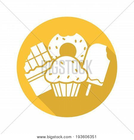 Sweets flat design long shadow glyph icon. Confectionery. Chocolate bar, doughnut, muffin with raisins, ice cream. Vector silhouette illustration