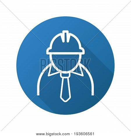Mine worker flat linear long shadow icon. Industrial factory worker. Vector outline symbol