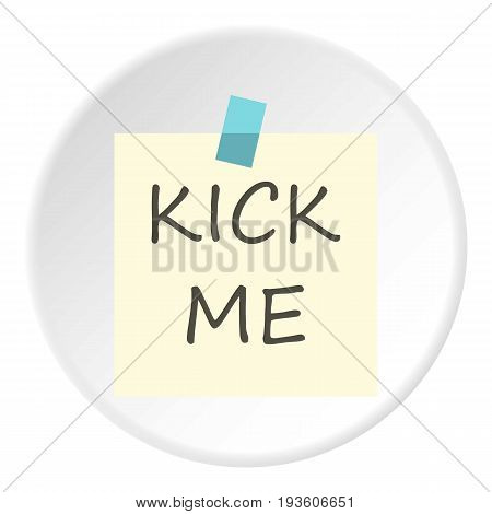 Inscription kick me icon in flat circle isolated vector illustration for web