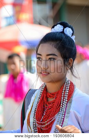 CHIANGMAI THAILAND - JANUARY 25 2015: Indigenous girl in the parade of 22nd Traditional Skirt Fabric and The Indigenous Product and Culture Festival in Mae Chaem of Chiangmai Thailand