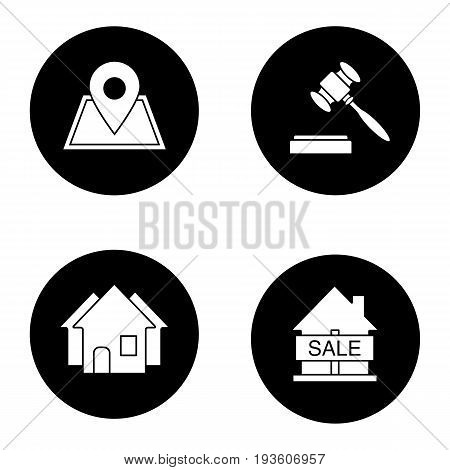 Real estate market glyph icons set. Building location, house for sale, gavel, three houses. Vector white silhouettes illustrations in black circles
