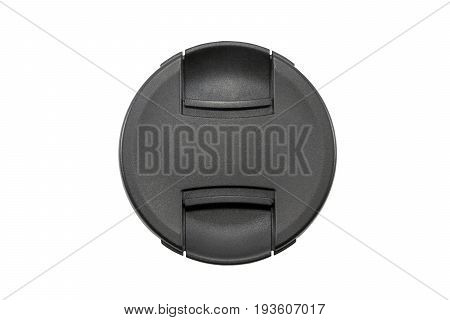 Lens cap to prevent dust and dangers should be closed every time after using the camera Isolated on white background and clipping path