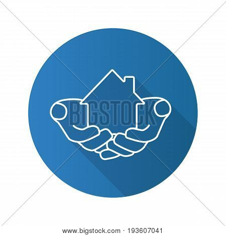 House in hands flat linear long shadow icon. Home loan. Real estate insurance. Realty investment. Vector outline symbol
