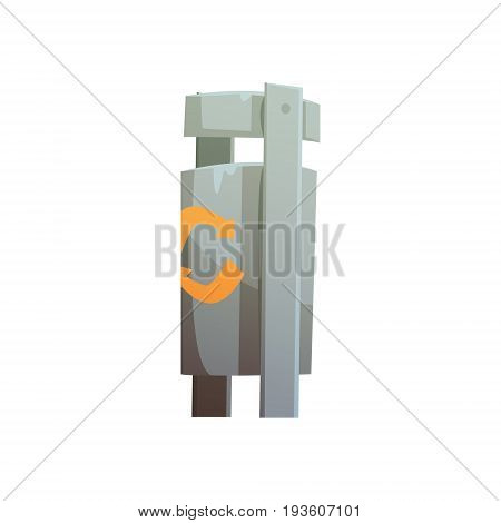 Metal public litter bin, waste processing and utilization cartoon vector Illustration isolated on a white background
