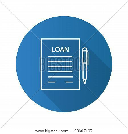 Loan agreement flat linear long shadow icon. Mortgage document with pen. Vector outline symbol
