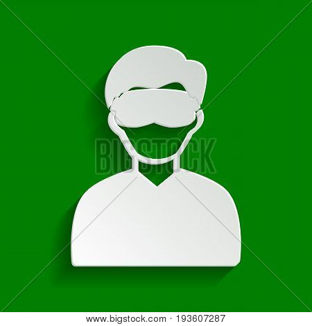 Man with sleeping mask sign. Vector. Paper whitish icon with soft shadow on green background.